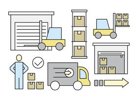 Linear Warehouse Storage Vector Elements