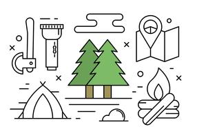 Free Linear Camping and Nature Vector Elements