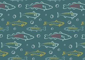 Hand Drawn Fish Pattern Vector