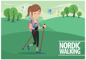 Free Female Nordic Walking Vector