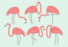 Free Cute Flamingos Vector