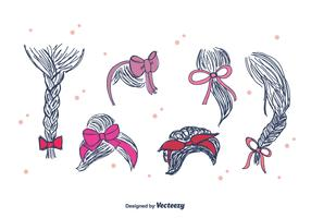 Hand Drawn Hair Ribbon Vector
