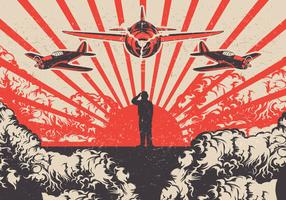 Kamikaze Planes and Soldier World War 2 Vector Background