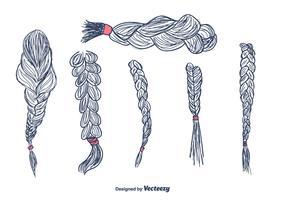 Hand Drawn Hair Plaits Vector