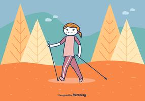 Nordic Walking Vector Illustration