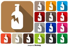 Broken Bottle Icon Square Buttons Vector Set