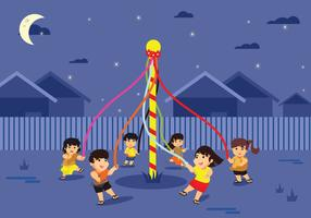 Colorful Maypole European Folk Festival Illustration Vector