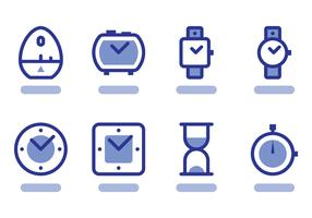 Flat Outlined Timer Icon Vectors