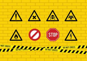 Danger Tape And Sign Free Vector