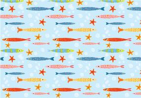 Funky Cute Fish Pattern Vector