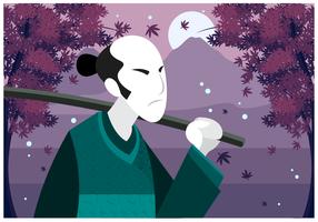 Ilustración del hombre libre del japonés del vector