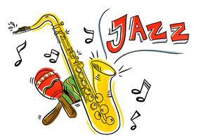 Colorido Iliustration saxofón del jazz y maracas