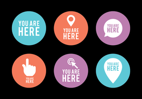 Flat You Are Here Sign Vector