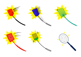 Set Of Fly Swatter Vector With Bug