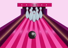 Bright Pink Bowling Lane Vector