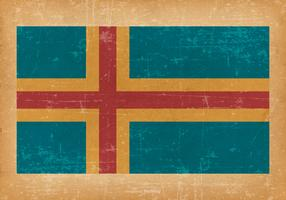 Flag of Aland on Grunge Background