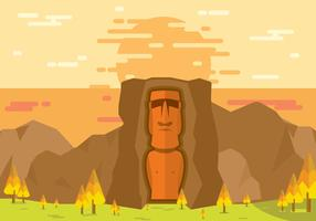 Easter Island Statue Lanscape Flat Illustration Vector