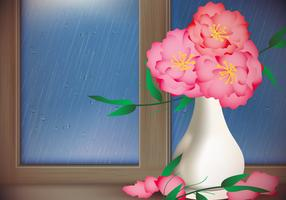 Red Flower With Rainy Day Window Vector