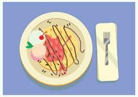 Waffle Topped With Vanilla Ice Cream, Chocolate And Cherry in The Blue Table Vector