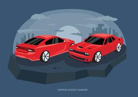 Red Classic Dodge Charger Car Vector Illustration