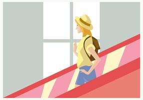 Traveler Girl With Hat in The Escalator