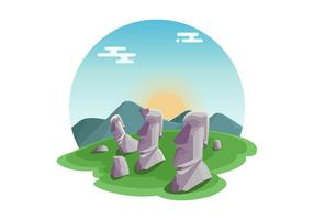 Statues Of Easter Island Vector
