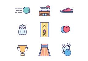 Bowling Icons on White Background