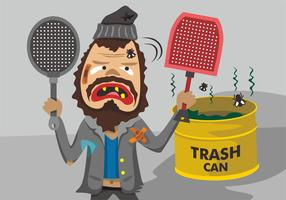Grungy Guy with Fly Swatter Vector Design
