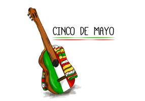 Colorful Mariachi Guitar With Flat Mexican Color