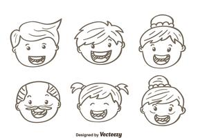 Sketch Happy Family Vectors