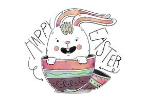 Cute Bunny Inside Eggs With Lettering Easter Day