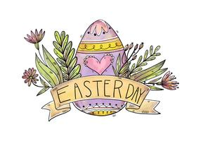 Cute Purple Eggs With Flowers And Ribbon for Easter Day Vector