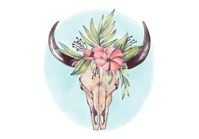 Cute Bull Skull Wearing Crown Flowers And Blue Background Vector