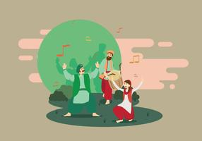 Free Male And Female Bhangra Dancers Illustration