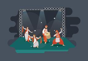 Free Man And Women Performance Bhangra Dance In Stage Illustration