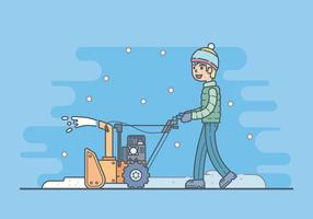 Boy With A Snow Blower Illustration