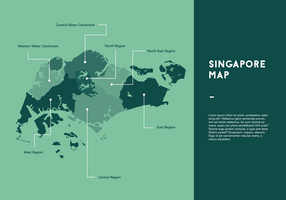 Green Singapore Map Vector