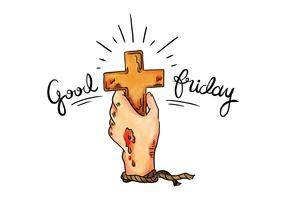 Good Friday Cross & Pierced Hand Illustration