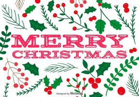 Holly Merry Christmas Vector Background