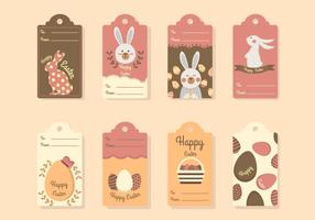 Flat Easter Gift Tag Vectors