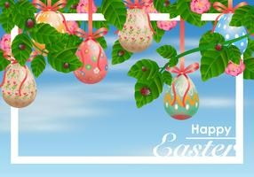 Decorative Easter Egg Hanging from Ribbons Vector
