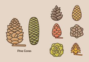 Colorful Pine Cones Vector Icon