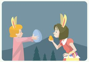 Two Little Girls Hunting Easter Eggs Vector