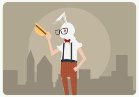 Hipster Man With Rabbit Costume Vector