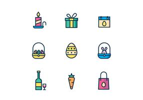 Easter Icons on White Background