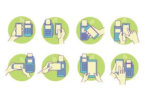 Blue and Green Concept Vector NFC Set