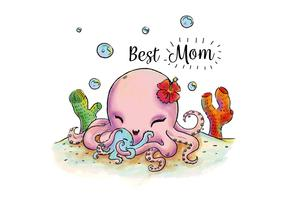 Cute Octopus Mom And Son Hugging Under The Sea Vector