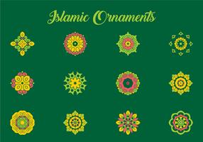 Green and Coral Arabic Ornament Vectors