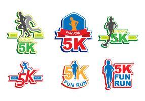 Bright 5K Run Sticker Vectors