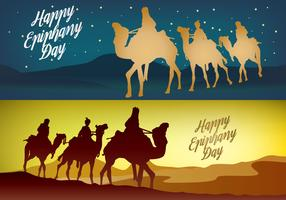 Happy Epiphany Day Banner Vectors